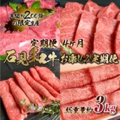 【定期便-4ヶ月】石見和牛お楽しみ定期便 (焼肉・すき焼き)総重量約3kg