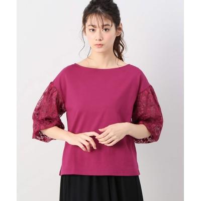 レディース ベーセーストック スリーブフラワーチュールTシャツ ピンク フリー
