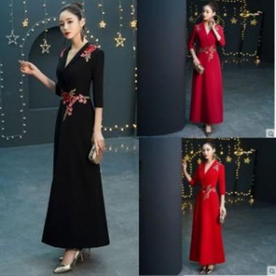 ロングドレス パーティードレス 結婚式 二次会 お呼ばれ マキシ丈 ワンピース ドレス 20代 30代 40代  花柄 大きいサイズ ブラックドレス