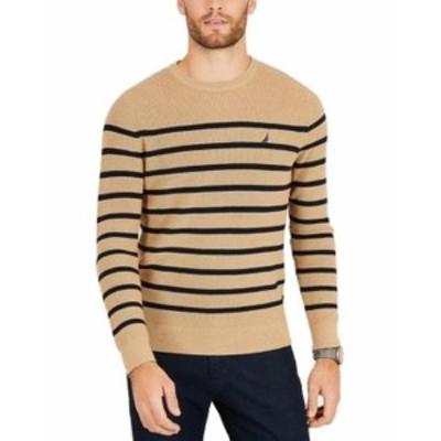 nautica ノーティカ ファッション トップス Nautica Mens Sweater Brown Size Medium M Crewneck Striped Pullover
