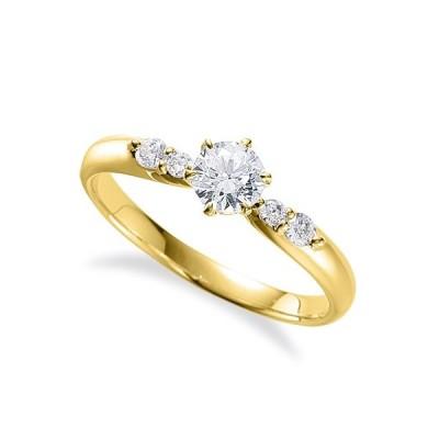 指輪 18金 イエローゴールド 天然石 サイドストーンリング 主石の直径約3.8mm しぼり腕 六本爪留め K18YG 18k 貴金属 ジュエリー レディース メンズ