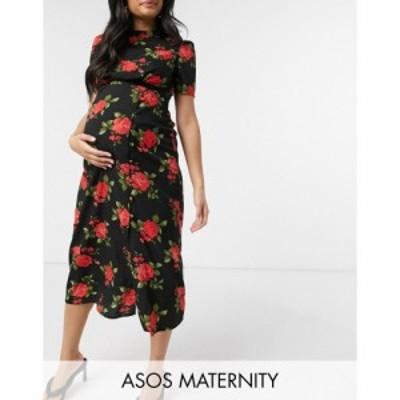 エイソス ASOS Maternity レディース ワンピース マタニティウェア ミドル丈 Maternity Midi Tea Dress With Buttons In Rose Print ロー