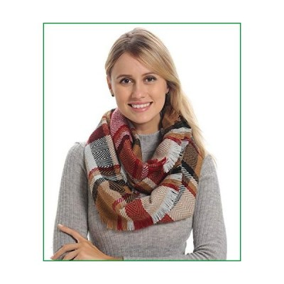 Women Plaid Infinity Scarf for Winter Fall, Beige Black Maroon Burgundy Thick Warm Soft Wool Feel, Fuzzy Knit Cashmere【並行輸入品】