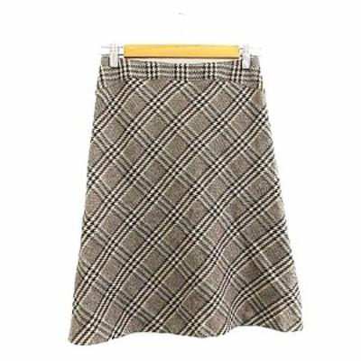 【中古】ノーリーズ Nolley's スカート フレア ひざ丈 チェック アンゴラ混 36 茶色 ブラウン /AAM37 レディース