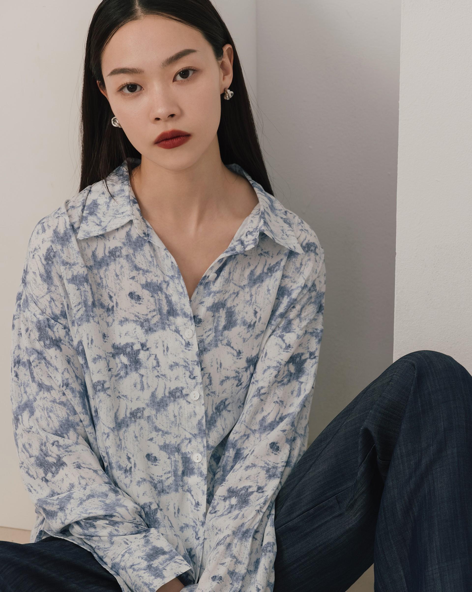 水墨渲染長袖襯衫-Meierq