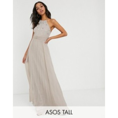 エイソス レディース ワンピース トップス ASOS DESIGN Tall embroidered halter pleated maxi dress Gray