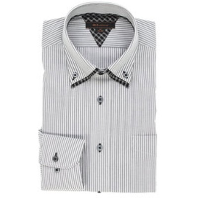 形態安定レギュラーフィット2枚衿ドゥエボットーニボタンダウン長袖ビジネスドレスシャツ/ワイシャツ