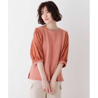 (SHOO・LA・RUE DRESKIP/シューラルー ドレスキップ)異素材使いボリューム袖Tシャツ/レディース ダークオレンジ(068)