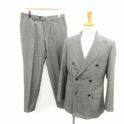 【中古】STRASBURGO HOLLAND&SHERRY スーツ セットアップ 上下 ジャケット ダブル パンツ ウール 46 グレー メンズ