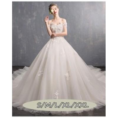 ウェディングドレス 結婚式ワンピース きれいめ 花嫁 ドレス 高級刺繍 ハイウエスト Aラインワンピース 白ドレス