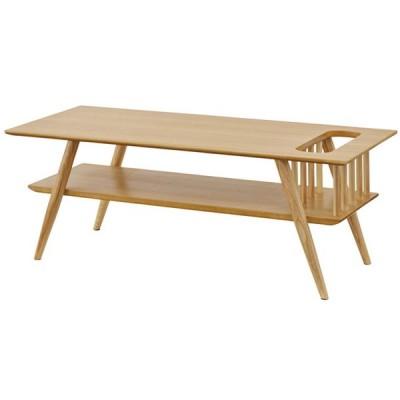 棚付センターテーブル 【ナチュラル】 天然木(アッシュ) 天然木化粧繊維板(アッシュ) ウレタン塗装