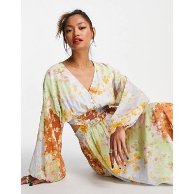 エイソス ASOS DESIGN レディース ワンピース ワンピース・ドレス soft shirred waist open back maxi dress in mixed patch floral print dobby