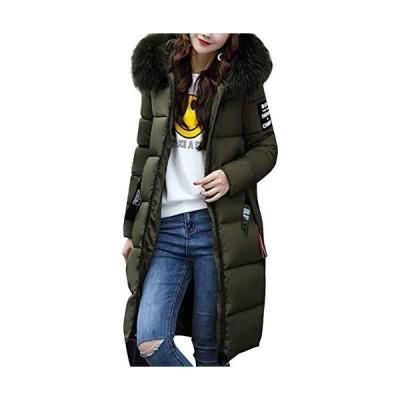 [ラクサス] 中綿ジャケット ロングコート アウター 防寒 冬 暖かい ファー付き 3カラー レディース (レッド L)