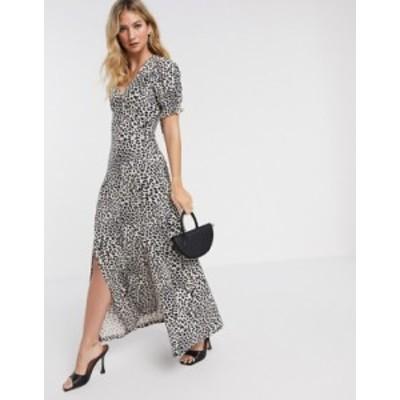 エイソス レディース ワンピース トップス ASOS DESIGN maxi dress with short sleeve in leopard print Leopard print