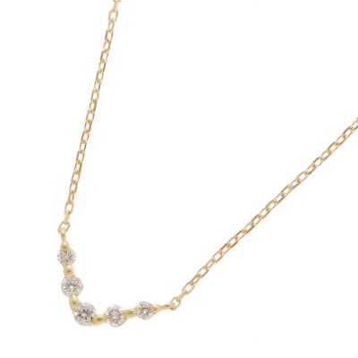 ココシュニック COCOSHNIK K18ダイヤモンド グラデーションV字5石 ネックレス小 (イエローゴールド)