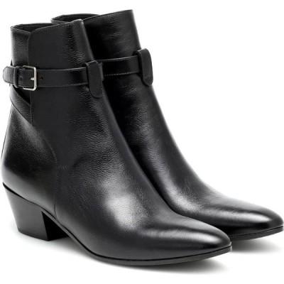イヴ サンローラン Saint Laurent レディース ブーツ ショートブーツ シューズ・靴 West Jodhpur 45 leather ankle boots Noir