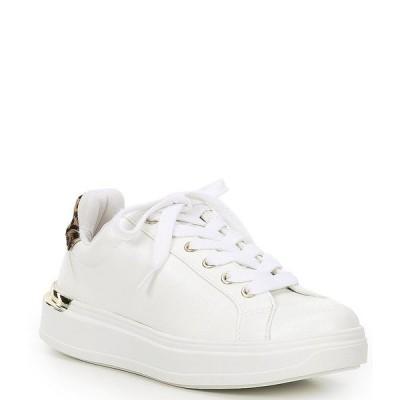 スティーブ マデン レディース サンダル シューズ Jaxie Leopard Print Haircalf Heel Accent Lace-Up Sneakers White/Leopard