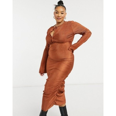 エイソス ドレス 大きいサイズ レディース ASOS DESIGN Curve plisse blouson tie long sleeve midi dress with side ruching in rust エイソス ASOS