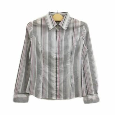 【中古】クリアインプレッション シャツ スタンダード ストライプ 比翼仕立て 長袖 3 白 ピンク ホワイト