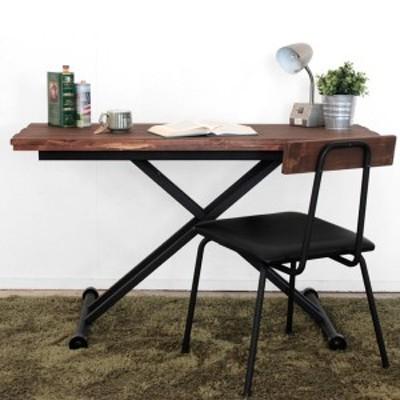 デスク 高さ調整 幅120cm リフティングテーブル 昇降式テーブル 木製 天然木 ヴィンテージ調 ( 机 テーブル センターテーブル ローテー