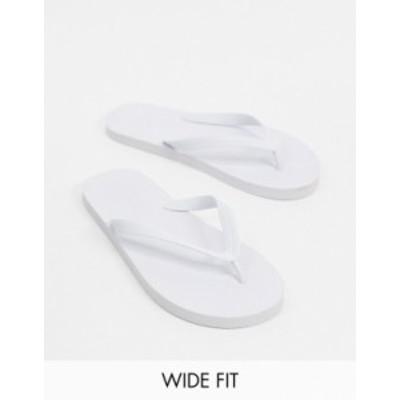 エイソス メンズ サンダル シューズ ASOS DESIGN Wide Fit flip flops in white White