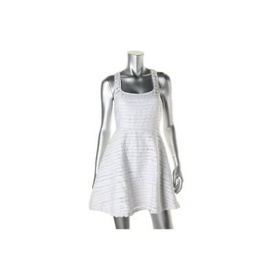 アクア ドレス ワンピース アクア 3366 レディース ホワイト Sheer ノースリーブ A-Line カジュアル ドレス M BHFO