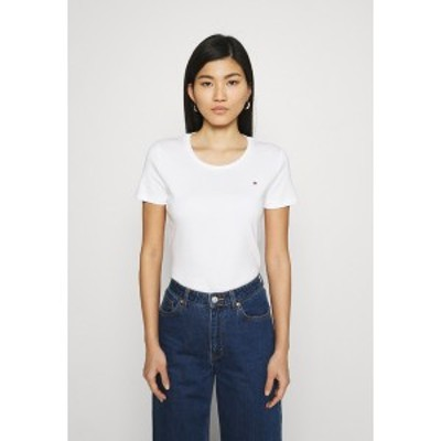 トミー ヒルフィガー レディース Tシャツ トップス SLIM ROUND NECK - Basic T-shirt - white white