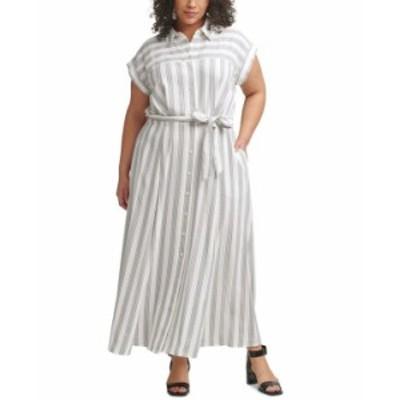 カルバンクライン レディース ワンピース トップス Plus Size Striped Gauze Shirtdress White/Black
