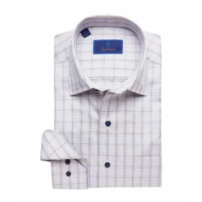 デイビッドドナヒュー シャツ トップス メンズ Casual Fit Spread Collar Long Sleeve Sport Shirt Gray