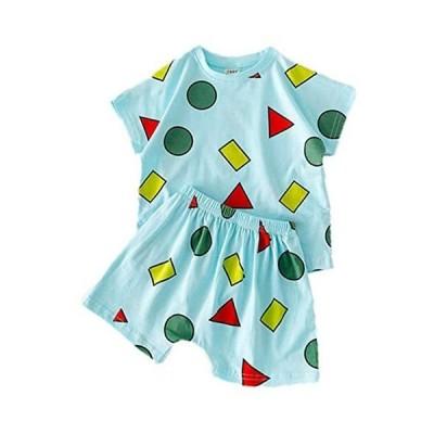 パジャマ キッズ 子供服 男の子 女の子 半袖 ベビー服 上下セット 夏 ショートパンツ 肌着 ルームウエア 寝間着 綿 (グリーン 100)