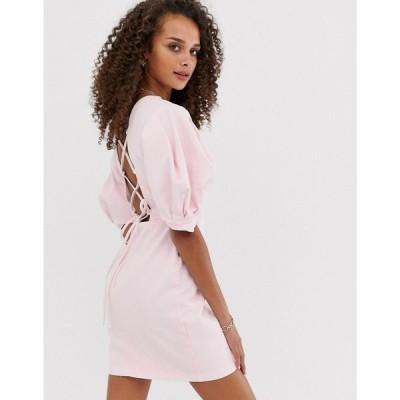 エイソス ASOS DESIGN レディース ワンピース ワンピース・ドレス denim puff sleeve back detail mini dress Pale pink