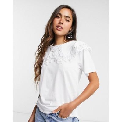 ストラディバリウス レディース Tシャツ トップス Stradivarius collar detail embroidered t-shirt in white White