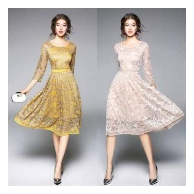 パーティードレス 結婚式 二次会 ワンピース 結婚式 お呼ばれドレス ドレス 結婚式 お呼ばれ 結婚式 パーティードレス 袖あり 大きいサイズ レース ワンピー