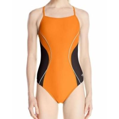 speedo スピード スポーツ用品 スイミング Speedo NEW Orange Womens Size 8 One-Piece Colorblocked Piped Swimwear #500