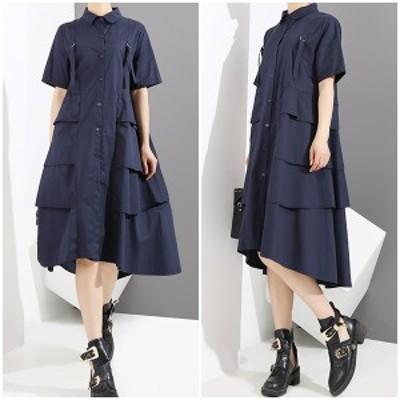 デザインワンピース シャツワンピ レディース 膝丈 半袖 フレアワンピ シンプル デザイン ワンピース スカート ネイビー 紺