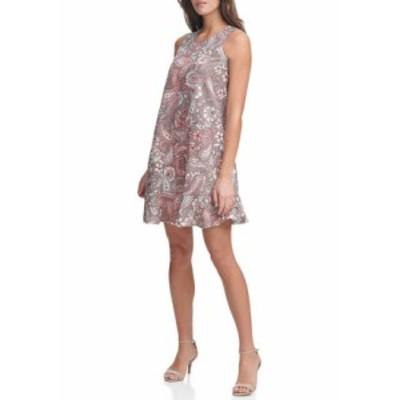 トミー ヒルフィガー レディース ワンピース トップス Women's Sleeveless Paisley Linen Dress Taupe Multi