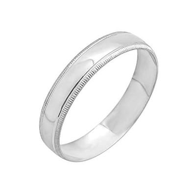 【新品】Dazzlingrock Collection レディース 10Kホワイトゴールドリング結婚指輪4mmのMilgrainドーム平野光沢のあるポリッシュ