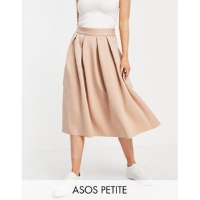 エイソス レディース スカート ボトムス ASOS DESIGN Petite midi prom scuba skirt in tan Tan