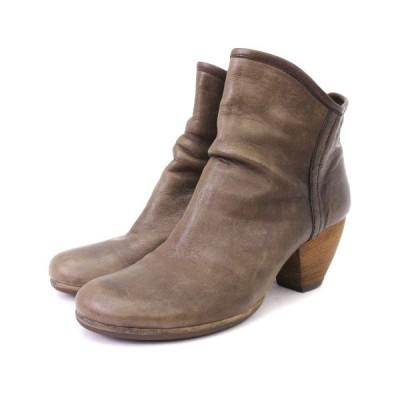 【中古】サヤ SAYA ショート ブーツ ラウンドトゥ 5811 レザー ブラウン系 22.5 靴 レディース 【ベクトル 古着】