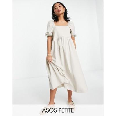 エイソス ASOS DESIGN レディース ワンピース ミドル丈 ワンピース・ドレス Petite square neck gathered puff sleeve midi dress in stone ベージュ