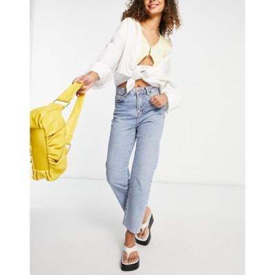 ニュールック レディース デニムパンツ ボトムス New Look straight leg fray hem jeans in mid blue