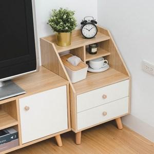 樂嫚妮 北歐二抽床頭邊櫃/電話櫃/儲物收納櫃-二色賽杉木