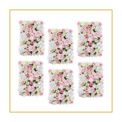GzxLaY 6Pcs Artificial Flower Wall Wedding Backdrop Hanging Decor Props for Wedding Banquet Arrangement Shop Window Decor, Pink White【並