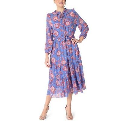 ジュリア ジョーダン ワンピース トップス レディース Printed Chiffon Midi Dress Blue Multi