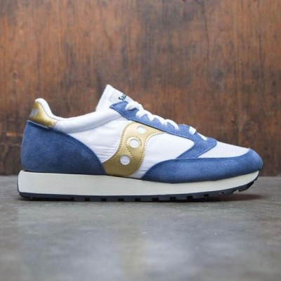 ユニセックス スニーカー シューズ Saucony Men Jazz Original Vintage (white / blue / gold)