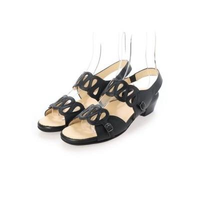 キクチノクツ 菊地の靴 デザインサンダル 532-43 (クロ)