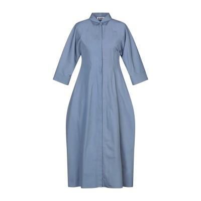 ジル サンダー JIL SANDER 7分丈ワンピース・ドレス ブルーグレー 34 コットン 100% 7分丈ワンピース・ドレス