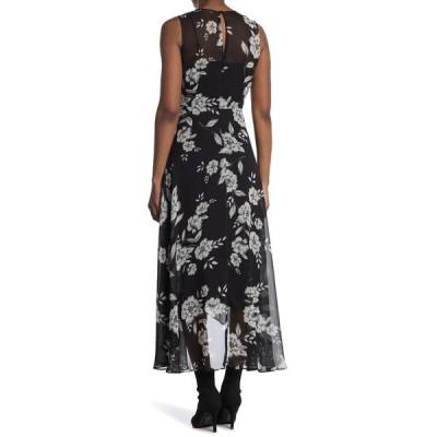 カルバンクライン レディース ワンピース トップス Sleeveless High/Low Ruffle Hem Dress BLK CRM