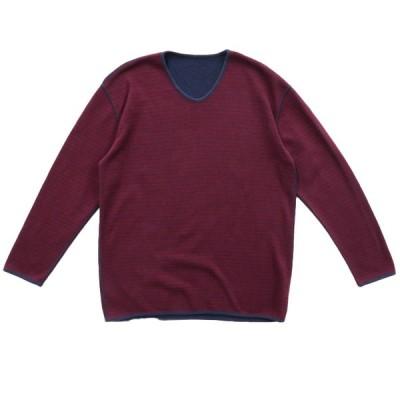 リバーシブル Vネック ロングスリーブTシャツ ロンT 長袖 ボーダー ネイビー バーガンディー サイズ表記:--