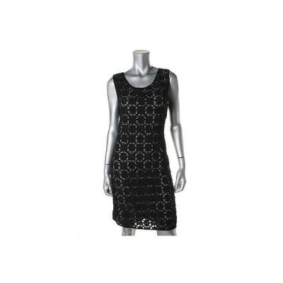 ドレス 女性  海外セレクション Studio M 3266 レディース B/W Crochet ストライプd Sheath Wear to Work ドレス L